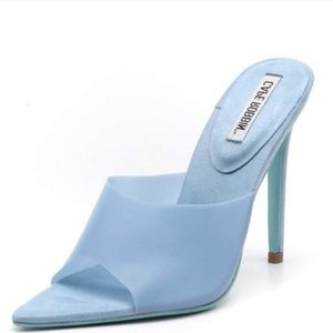 Sky Blue Open Toe Mule Stiletto Heel Sandals